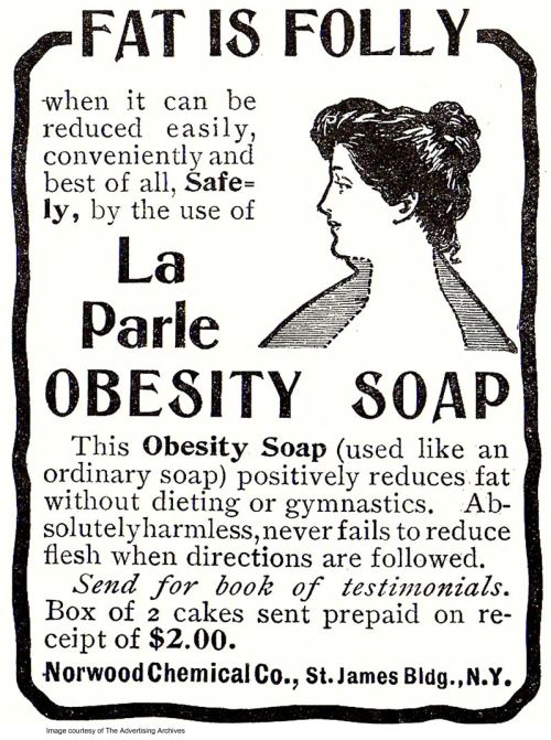 "A 1903 advertisement provided by The Advertising Archives via Library of Congress shows a 1903 advertisement for La Parle Obesity Soap, that ""never fails to reduce flesh"" and was selling at a pricey-for-then $1 a bar. A look back at diet history shows what hasn't changed is the quest for an easy fix. (AP Photo/The Advertising Archives via Library of Congress)"