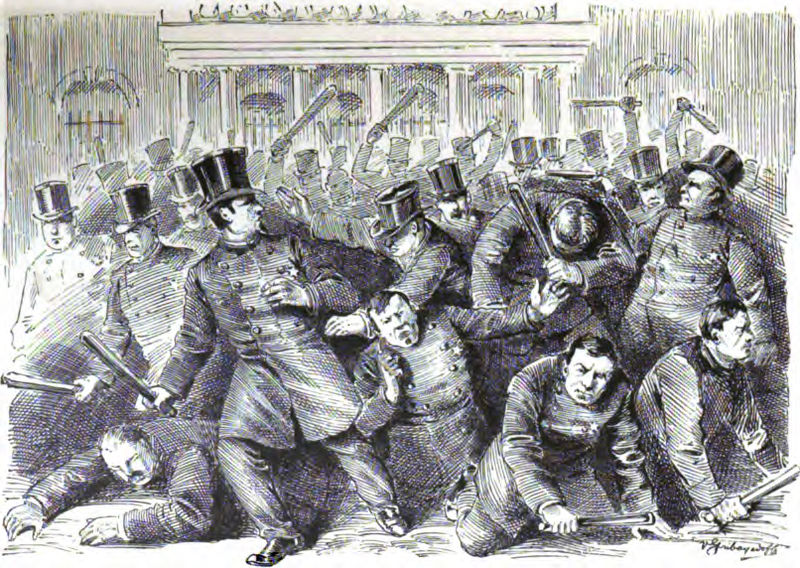 An illustration of fighting at City Hall between Municipal and Metropolitan police officers during the Police Riot of 1857 from &quot;Recollections of a New York Chief of Police&quot; (1887) by George W. Walling.