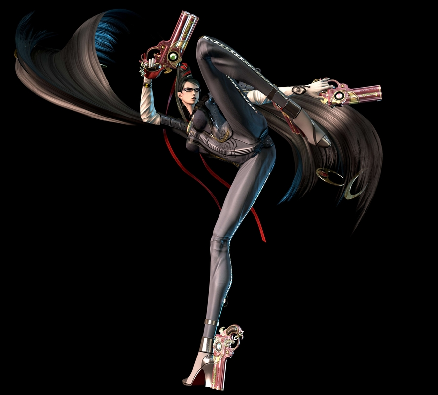 Bayonetta, looking all tall and hair-swirly, in a shiny bodysuit and with impossibly-long legs. Also GUNS.