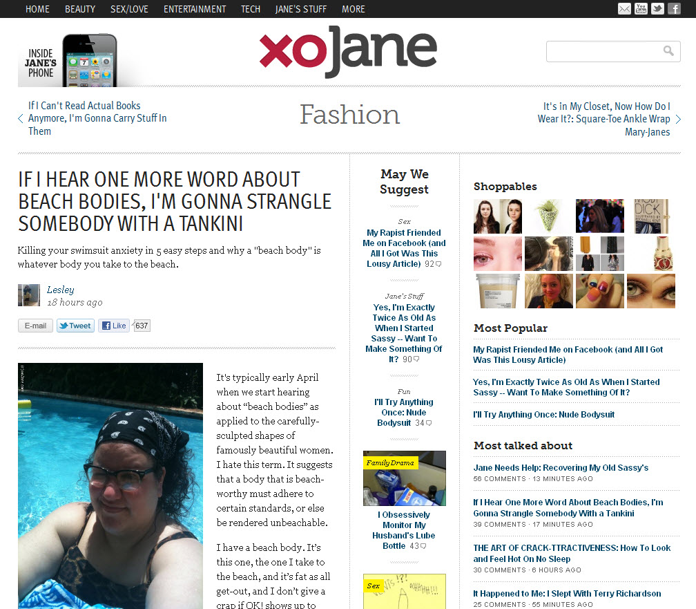 A screenshot of xoJane.com
