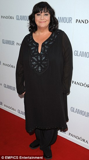 Dawn French, dressed in a long black embellished tunic and lose pants, looks a lot slimmer on the red carpet at the Glamour Woman of the Year awards.