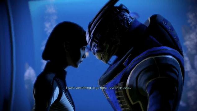 "Lady Shepard and Garrus share a tender moment in her quarters. Subtitle reads: ""I want something to go right. Just once. Just..."""