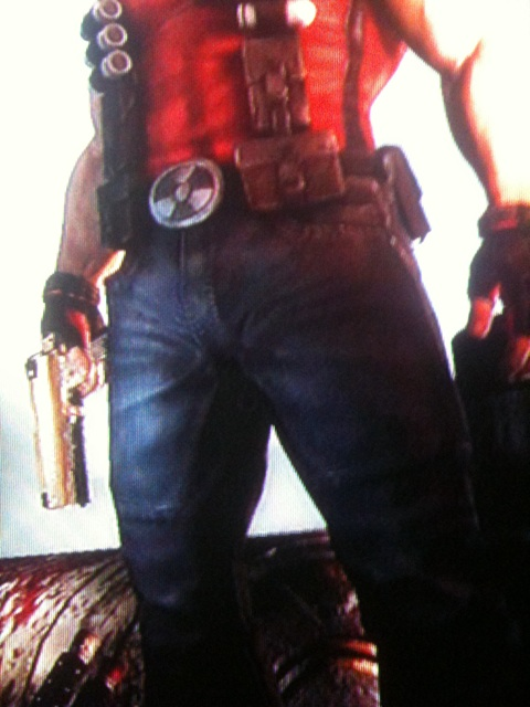 Duke Nukem's jeans-clad crotch in closeup