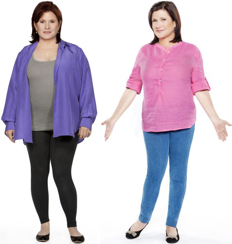 Carrie's Before and After Jenny Craig pics, photoshopped so thoroughly that they no longer look entirely human. Plus? I don't actually know where she's lost weight.